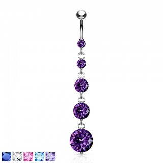 Belly bar with 5 dangling coloured jewels
