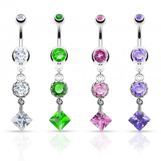 Belly bar with diamond square and round dangle