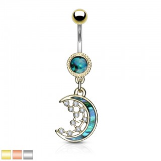 Belly bar with dangling crescent moon and pearl inlay