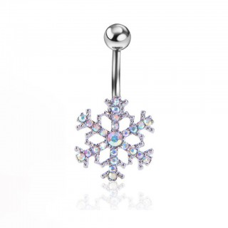 Rainbow coloured crystal snowflake belly button piercing
