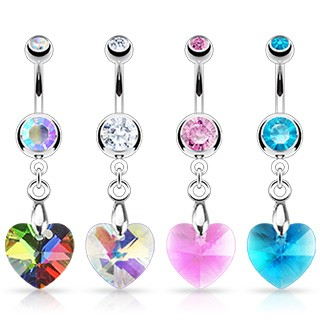 Belly bar with diamonds and heart-shaped gem