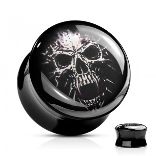 Black saddle fit plug with skull print