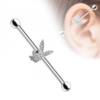 Clear crystal paved playboy bunny industrial barbell