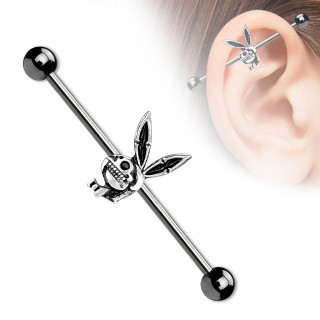 Black playboy bunny skull industrial barbell piercing