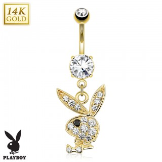 14 Kt. gold belly button piercing with crystal Playboy Bunny pendant