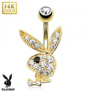 Solid gold belly button piercing with crystal Playboy Bunny