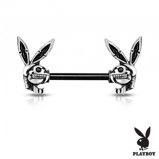 Nipple barbell with front facing playboy bunny skulls