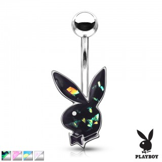 Opal glitter playboy bunny in silver casting belly bar