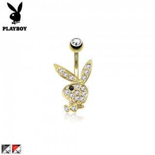 Gold belly button piercing with crystal Playboy bunny