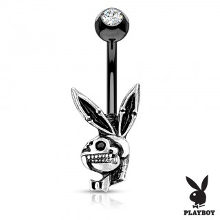 Burnished silver playboy bunny skull decorated belly bar