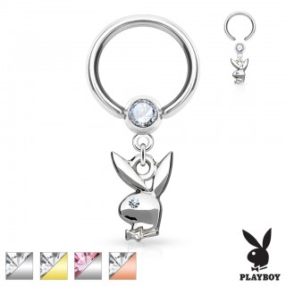 Ball closure ring with Playboy Bunny dangle