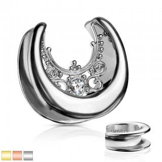 Moon shaped saddle fit tunnel with clear crystal