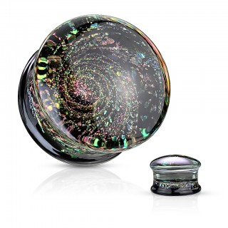 Multi coloured galaxy double flared glass plug