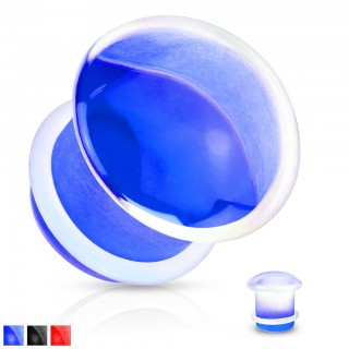 Concaved front single flared glass plugs with clear o-ring
