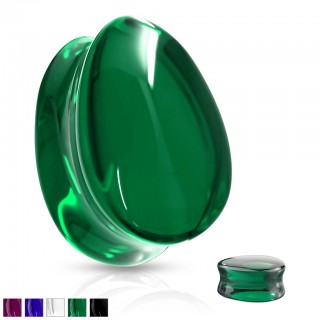 Coloured saddle fit glass plug in tear drop shape