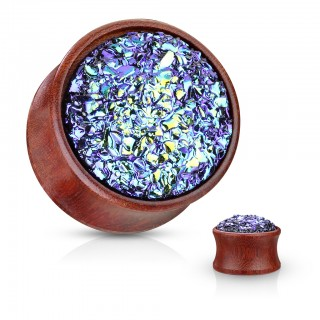 Saddle fit wooden plug with blue druzy stone