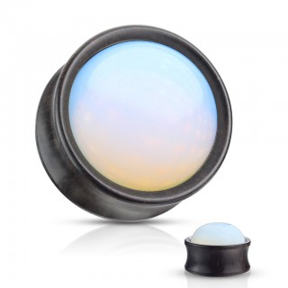 Opalite stone front saddle fit wooden plug piercing