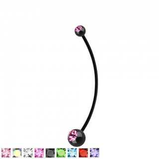 Black pregnancy belly bar with coloured crystals