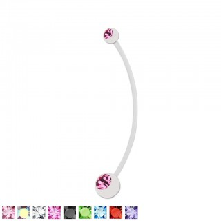White pregnancy belly bar with coloured crystals