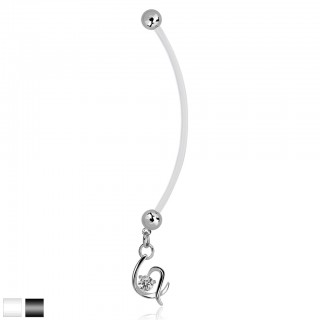 Bioflex belly button piercing with dangling crystal in heart