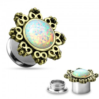 Screw fit plug with opal stone and gold edge