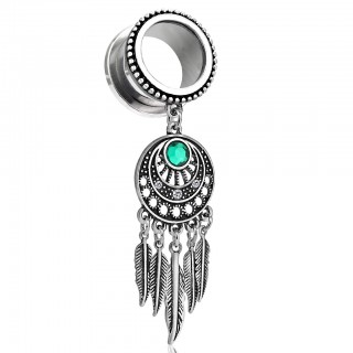 Tunnel with dream catcher dangle and emerald crystal