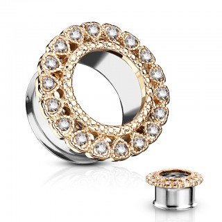 Double flared tunnel with heart shaped crystal on rim - 12 mm - Rose Gold