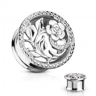 Double flared tunnel with flower cut out - 10 mm - Silver