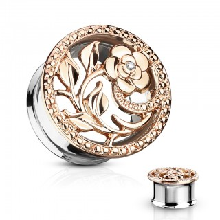 Double flared tunnel with flower cut out - 8 mm - Rose Gold
