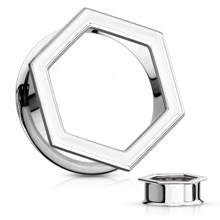 Silver hexagon shaped front double flared tunnel