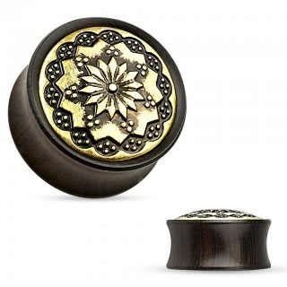Saddle fit plug of Ebony with tribal flower
