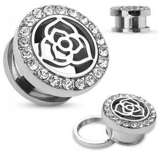 Screw fit plug with steel rose and ring of crystals