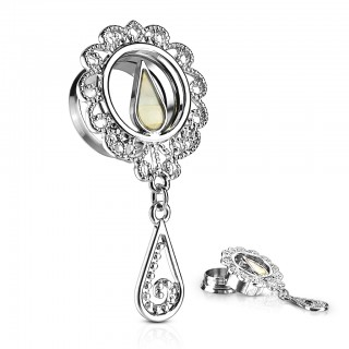 Screw fit tunnel with pearl and tear dangle