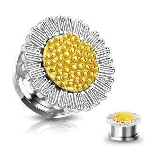 Surgical Steel screw fit plug with Daisy figure