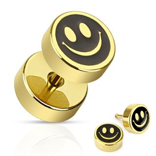 Gold fake plug with smiley face