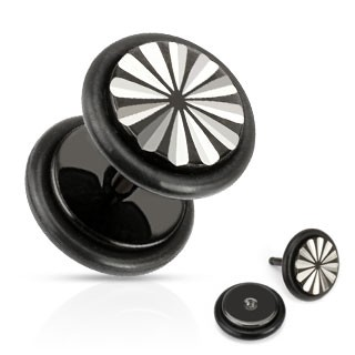 Black fake plug with flower print