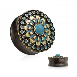 Ebony wooden saddle fit plug with turquoise stones and sun