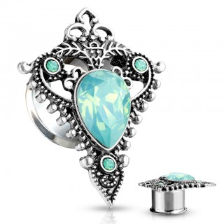 Double flared tunnel with shield encased top with opal stone