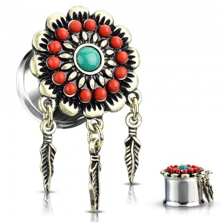 Ear plug with red and turquoise gems with dangling feathers