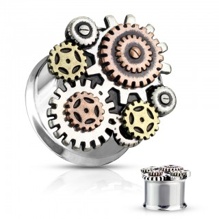 3 tone steampunk geared double flared plug piercing