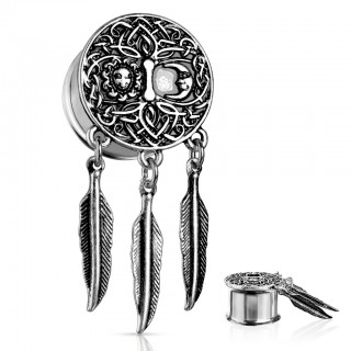 Double flared tunnel with feather dangles and pattern
