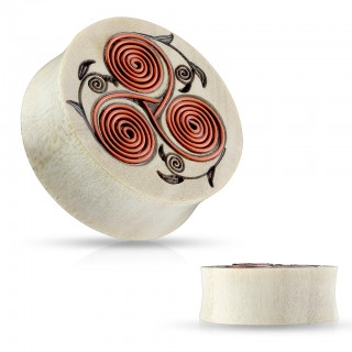 Wooden saddle fit plug with tribal floral design