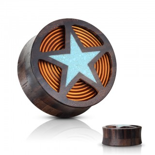 Sono wood saddle fit plug with turquiose star and orange coil