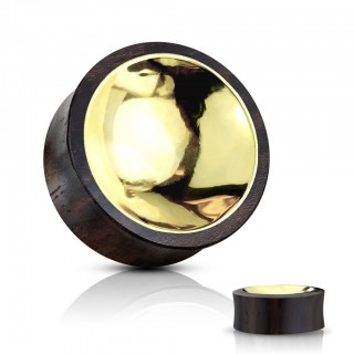 Wooden saddle fit plug with concaved gold front and back