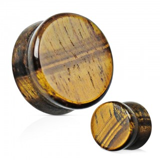 Saddle fit plug of natural tiger eye stone