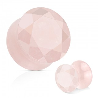 Saddle fit plug of faceted rose quartz stone