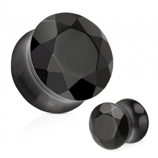 Saddle fit plug of faceted black agate stone