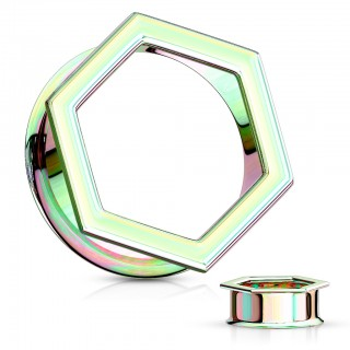 Coloured hexagon shaped front double flared tunnel – Rainbow - 19 mm