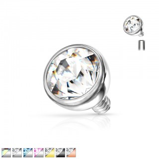 Internally threaded piercing top with bezel set crystal