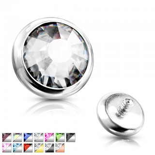 Internally threaded piercing disc top with bezel set crystal